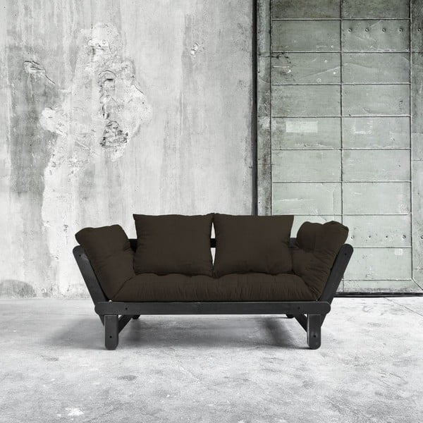 Sofa rozkładana Beat Black/Choco Brown