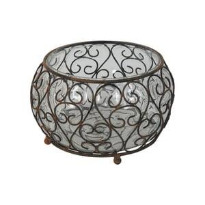 Świecznik szklany z metalowymi detalami Antic Line Verre, Ø 21,5 cm
