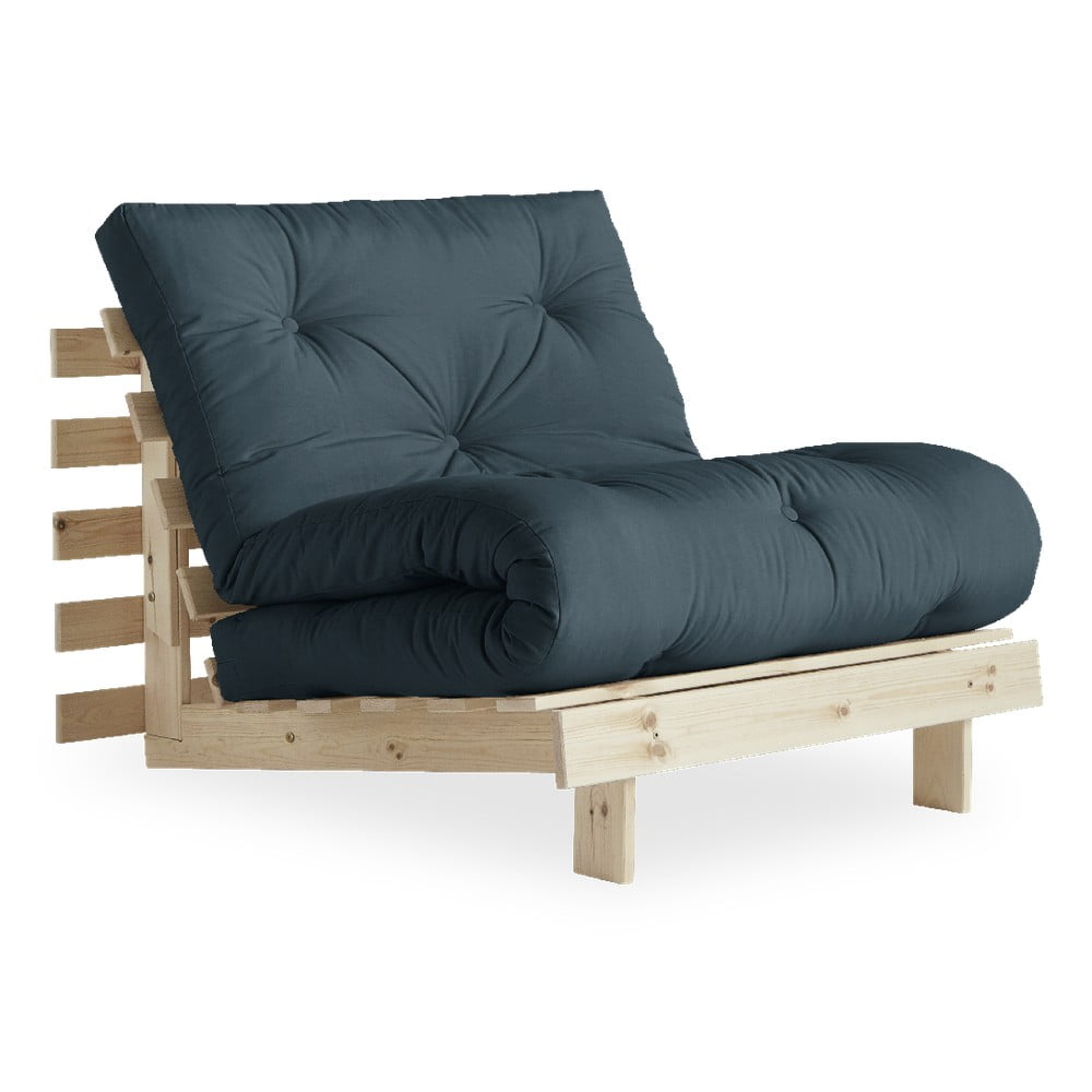 Fotel rozkładany z niebieskozielonym obiciem Karup Design Roots Raw/Petrol Blue