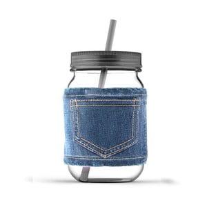 Słoik ze słomką Jeans Smoke
