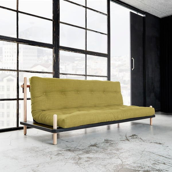 Sofa rozkładana Karup Point, Black/Raw Beech/Avocado Green