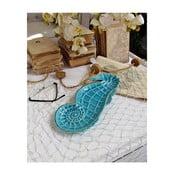 Niebieski talerz dekoracyjny Orchidea Milano Seahorse,długość32cm