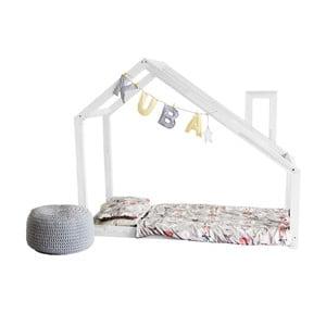 Białe łóżko z wysokimi nóżkami i barierkami Benlemi Deny, 120 x 200 cm, wysokość nóżek 30 cm