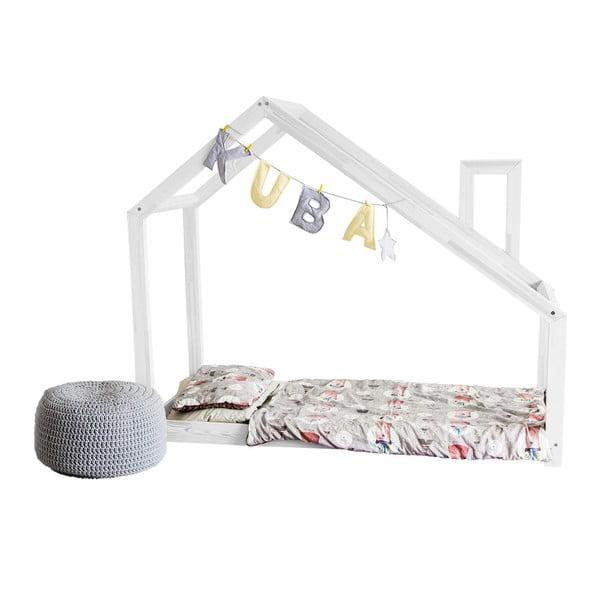 Białe łóżko dziecięce z wysokimi nóżkami Benlemi Deny, 90 x 180 cm, wysokość nóżek 20 cm