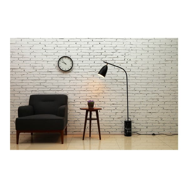 Czarna lampa stojąca z marmurową podstawą Garageeight Mel