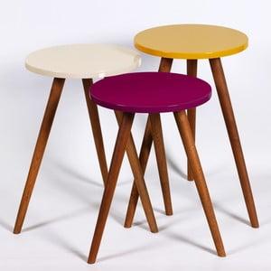 Zestaw 3 stolików Kate Louise Round (ciemnofioletowy, kremowy, żółty)