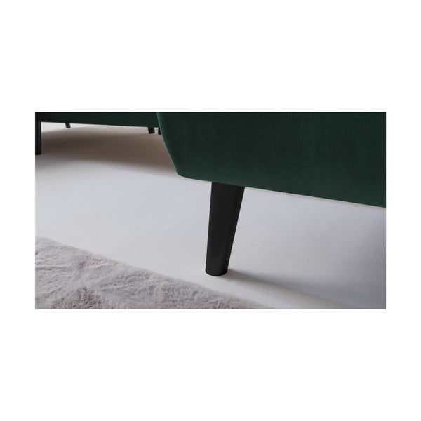 Zielony narożnik rozkładany Bobochic Paris Hera Bis, prawostronny