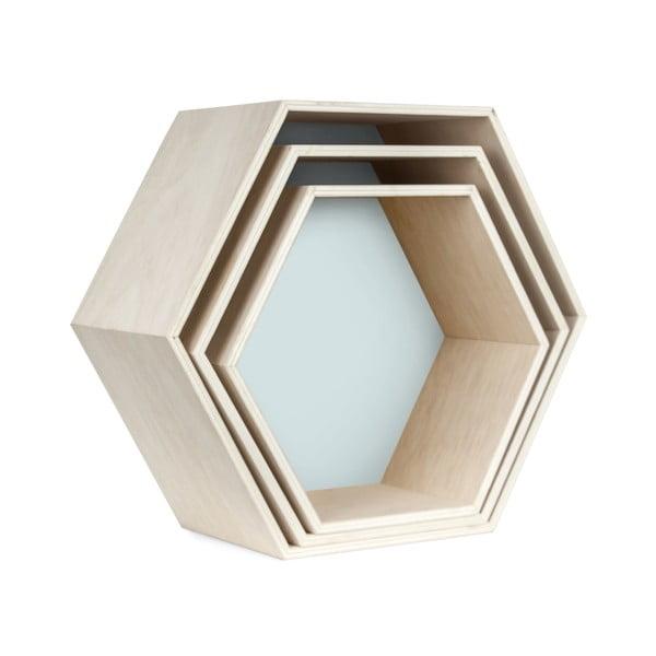 Zestaw 3 półeczek Hexagon, niebieskie