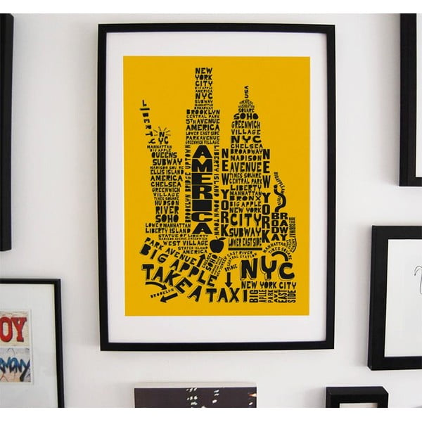 Plakat New York Yellow&Black, 50x70 cm