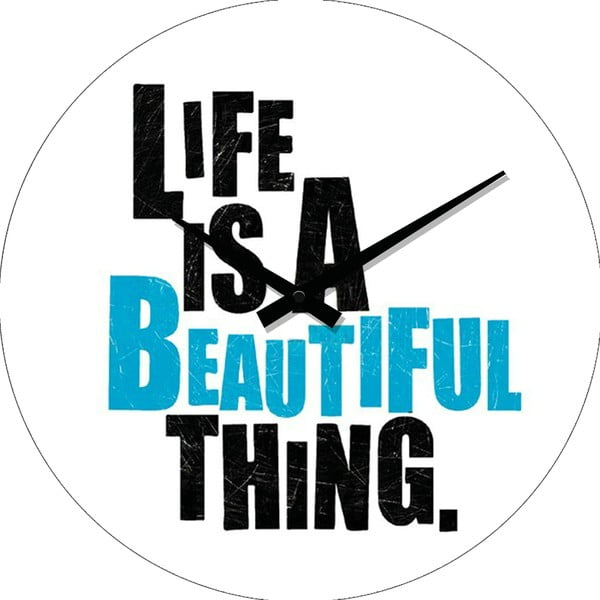 Szklany zegar Life Is, 34 cm