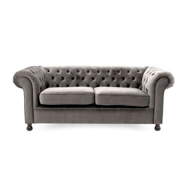 Szara sofa trzyosobowa Vivonita Chesterfield