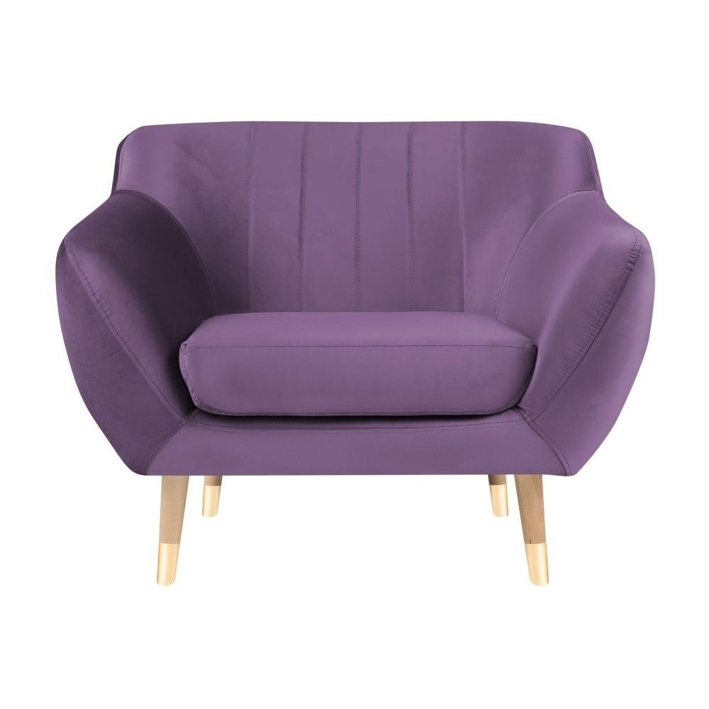 Fioletowy aksamitny fotel Mazzini Sofas Benito