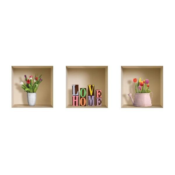 Naklejki 3D Love Home, 3 szt.