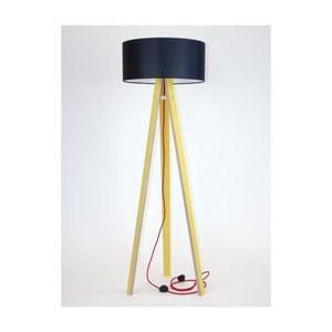 Żółta lampa stojąca z czarnym abażurem i czerwonym kablem Ragaba Wanda