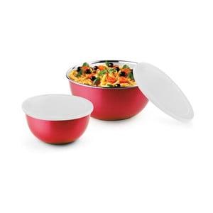 Zestaw 2 czerwonych misek ze stali nierdzewnej z pokrywką do kuchenki mikrofalowej Bonita