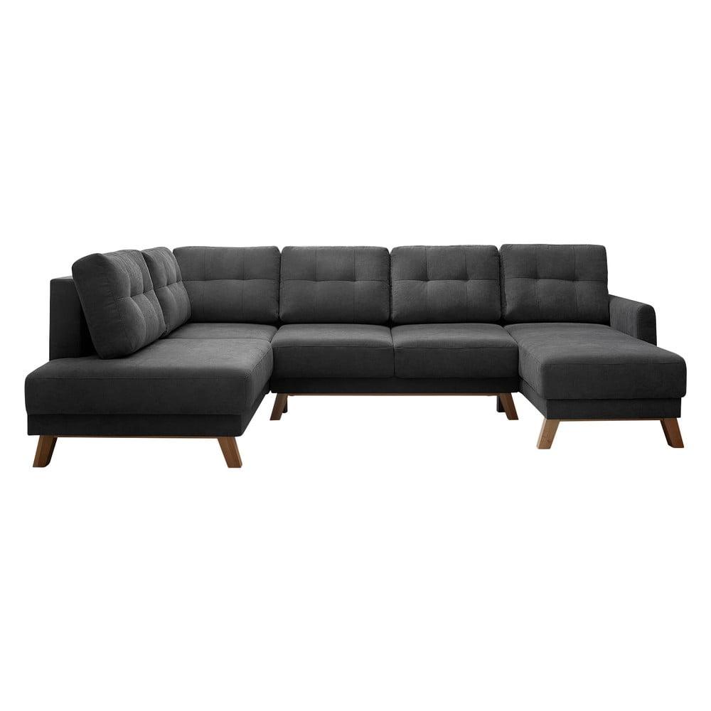Ciemnoszara sofa rozkładana z szezlongiem Bobochic Paris Balio, lewy róg