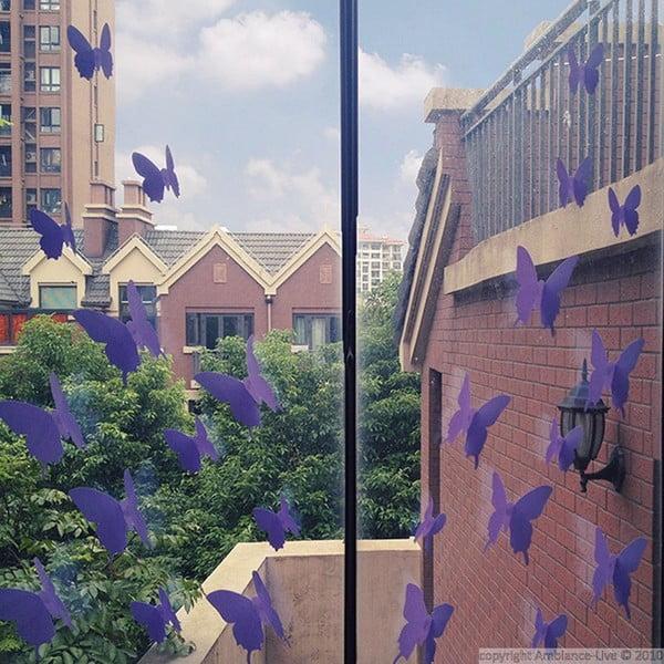 Zestaw   12 naklejek Ambiance Purple Butterflies