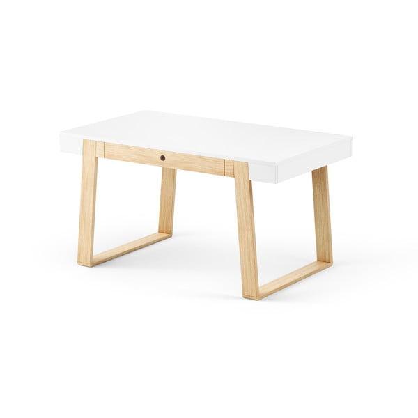Stół dębowy z białym blatem Absynth Magh, 140x80 cm