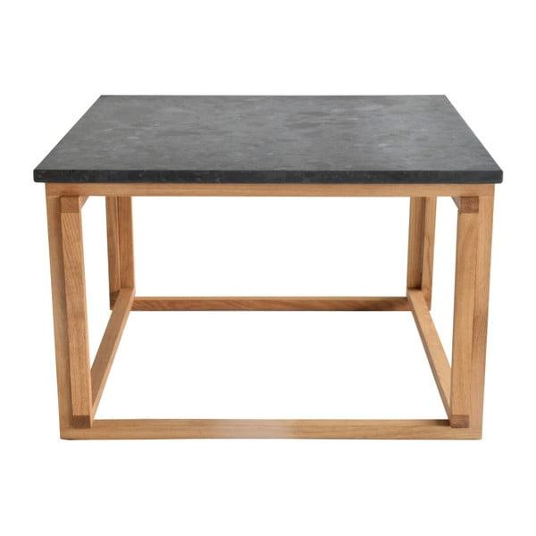 Czarny stolik granitowy z dębowymi nogami RGE Accent, szer.75cm