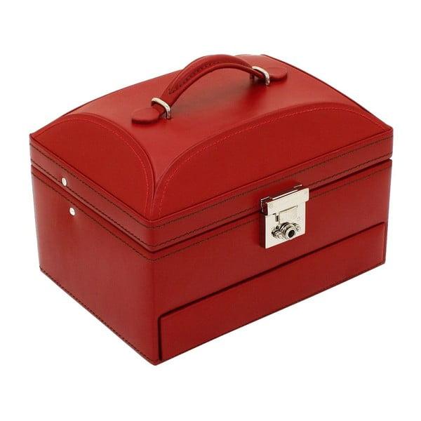 Czerwony kuferek na biżuterię Friedrich Lederwaren Cordoba, 22x16 cm