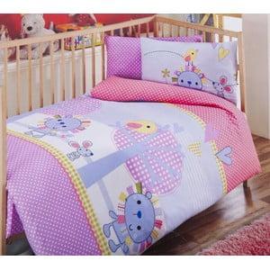 Zestaw dziecięcej pościeli i prześcieradła Pink Lilac, 120x150 cm