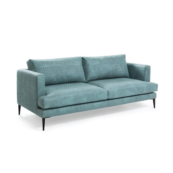 Turkusowa sofa 3-osobowa La Forma Vinny