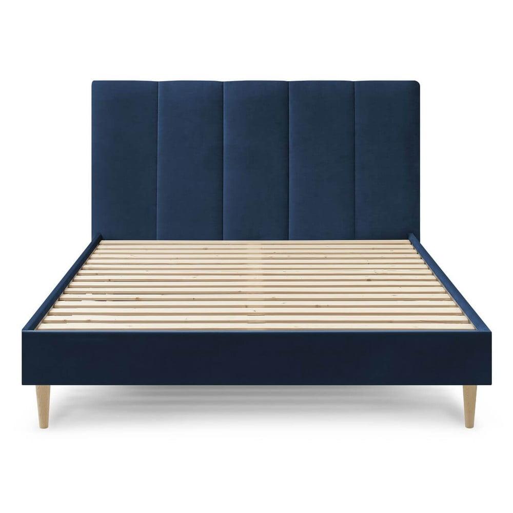 Ciemnoniebieskie aksamitne łóżko dwuosobowe Bobochic Paris Vivara Light,160x200cm
