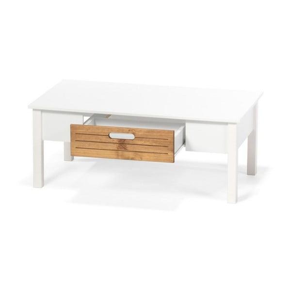 Biały stolik z drewna sosnowego z szufladą loomi.design Ibiza
