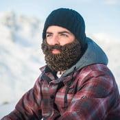 Czarna czapka z odpinaną, brązową brodą Beardo Original Thick