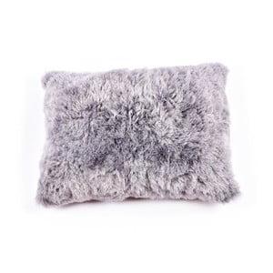 Szara poduszka futrzana z krótkim włosiem, 50x70 cm