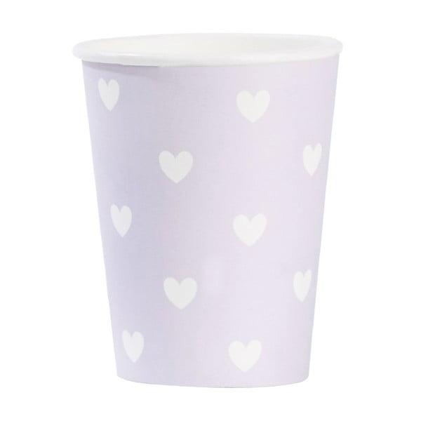 Komplet papierowych kubeczków Lavender Hearts, 8 szt.