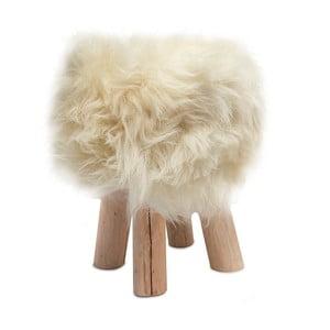 Stołek obity białą skórą Sheepo