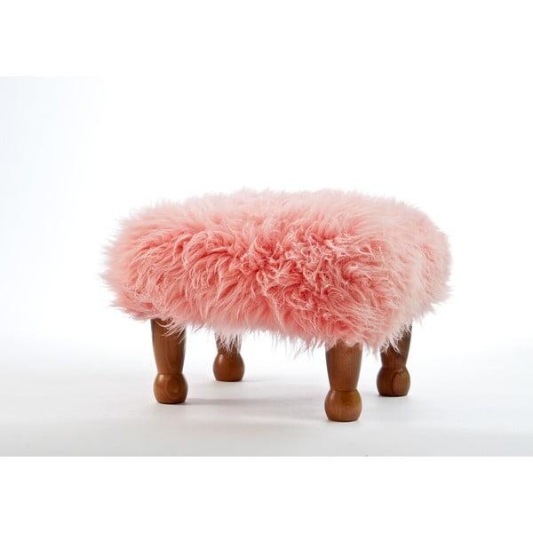 Podnóżek z owczej skóry Anwen Pink