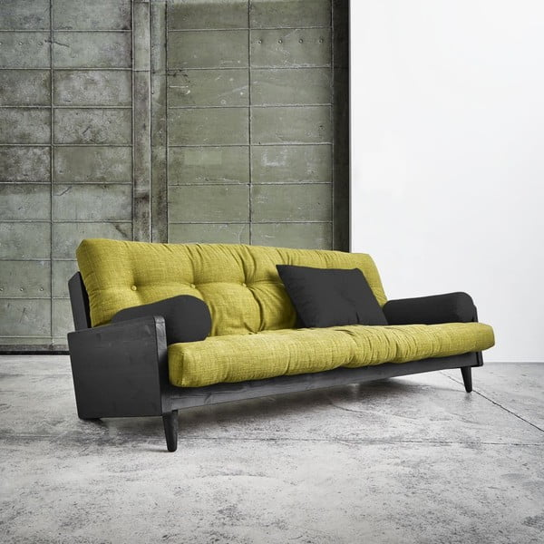 Sofa rozkładana Karup Indie Black/Avocado Green/Dark Grey