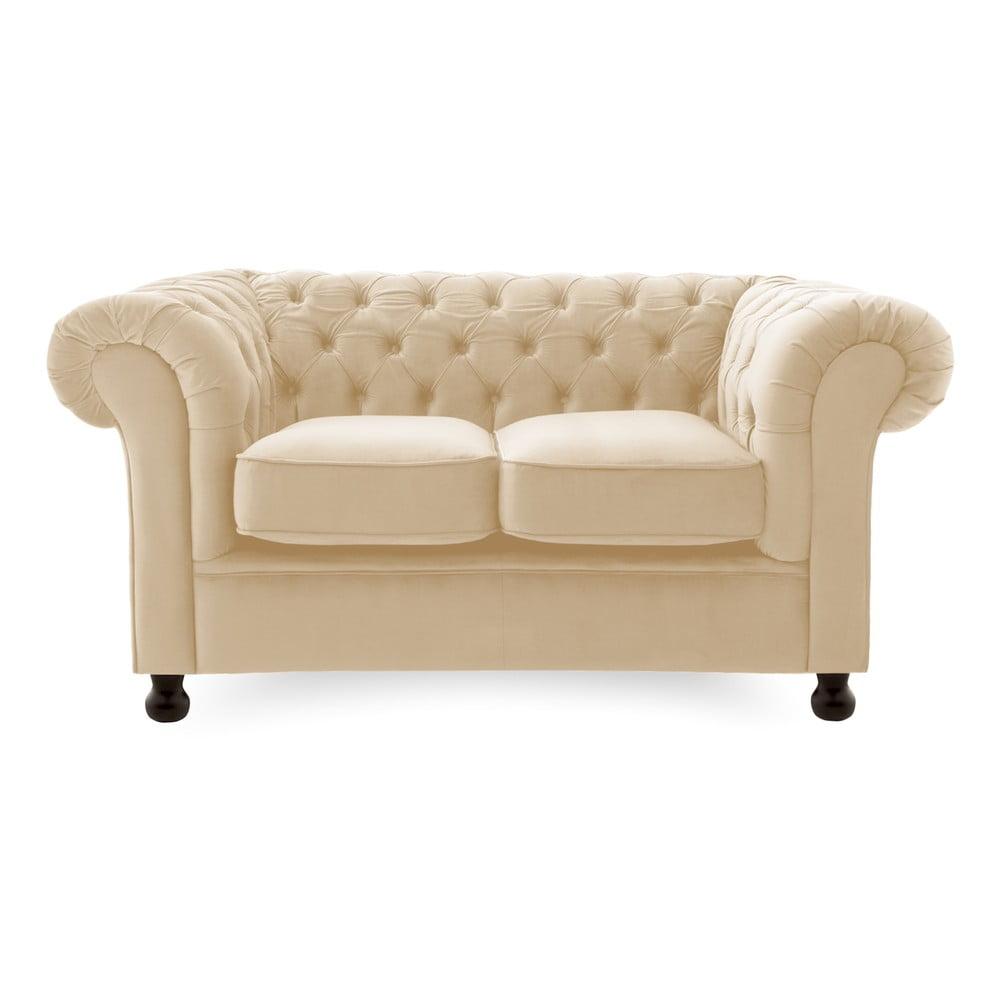 Jasnobeżowa sofa 2-osobowa Vivonita Chesterfield