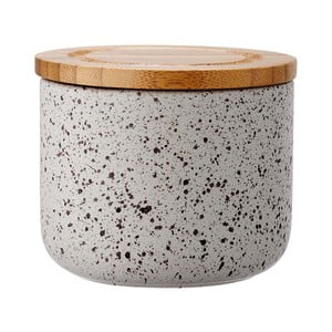 Szary pojemnik ceramiczny z bambusowym wieczkiem Ladelle Speckle, wys. 9cm