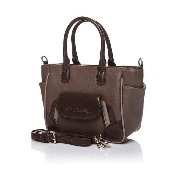 Skórzana torebka do ręki Marta Ponti Pocket Deux, jasnobrązowa/ciemnobrązowa