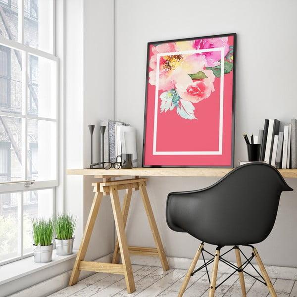 Plakat z kwiatami, różowe tło w białej ramce, 30 x 40 cm