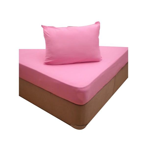 Prześcieradło elastyczne i dwie poszewki na poduszkę Pink, 160x200 cm