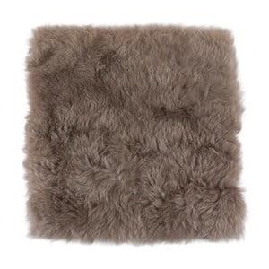 Brązowo-szara poduszka futrzana do siedzenia z krótkim włosiem, 37x37 cm
