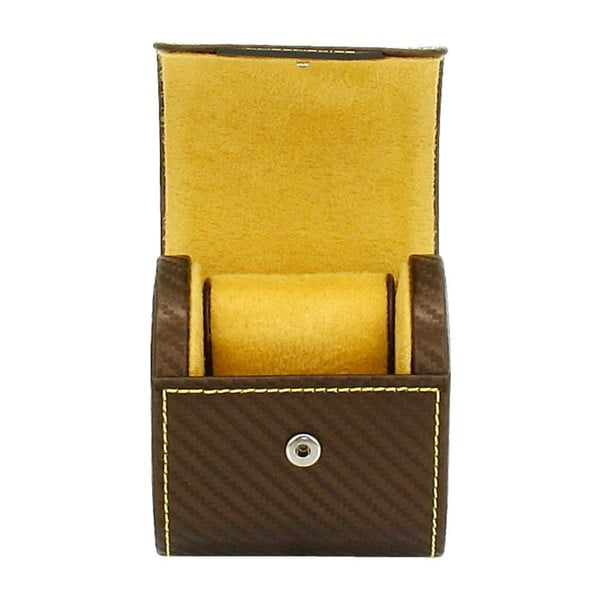 Czekalodowobrązowe pudełko na zegarek Friedrich Lederwaren Carbon