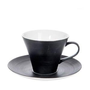 Filiżanka z podstawką Stripes Dark Black, 220 ml