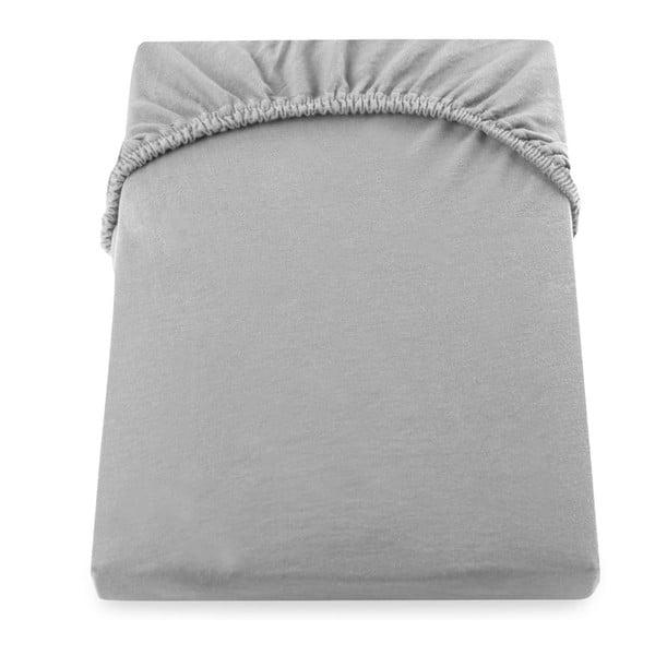 Szare bawełniane prześcieradło elastyczne DecoKing Amber Collection, 180-200x200 cm