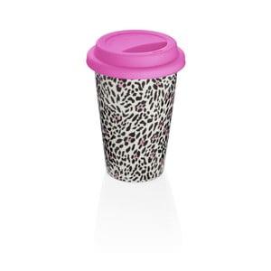 Kubek podróżny z różowym wieczkiem z porcelany kostnej Sabichi Leopard, 300 ml