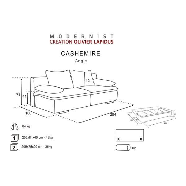 Czarno-szara sofa rozkładana Cachemire