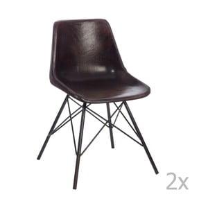 Zestaw 2 ciemnobrązowych krzeseł skórzanych J-Line Cross