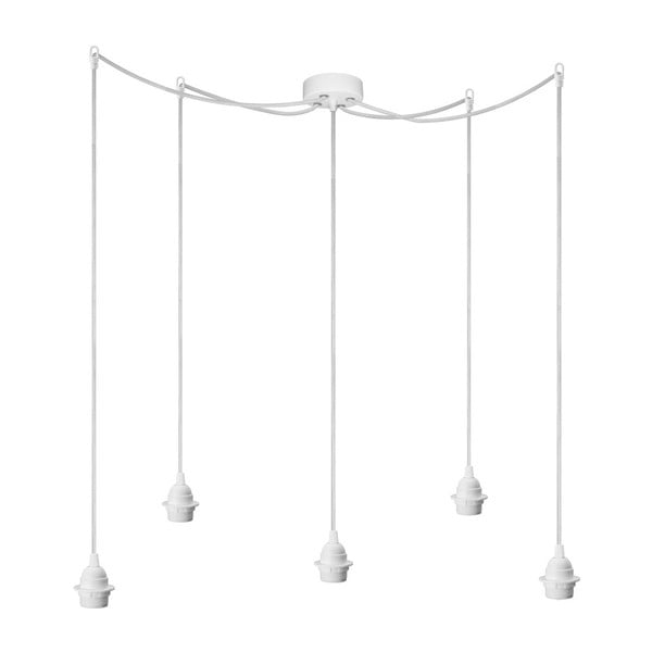 Biała pięcioramienna lampa wisząca Bulb Attack Uno Plus