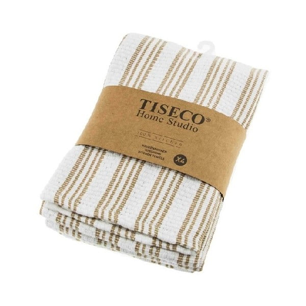 Komplet 4 beżowych bawełnianych ścierek Tiseco Home Studio, 50x70 cm