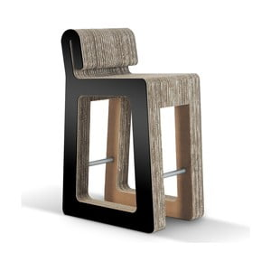 Barowe kartonowe krzesło Hook Stool Black