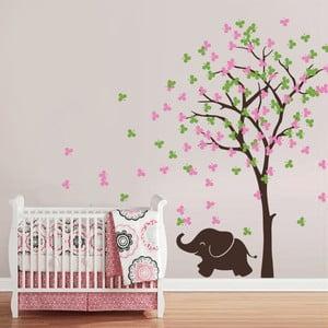 Naklejka Słonie i drzewo, 70x50 cm